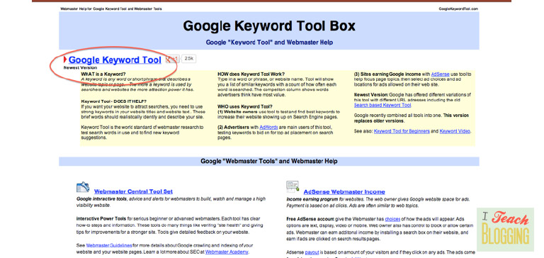 How to use Google Keyword Planner Tool Step 1