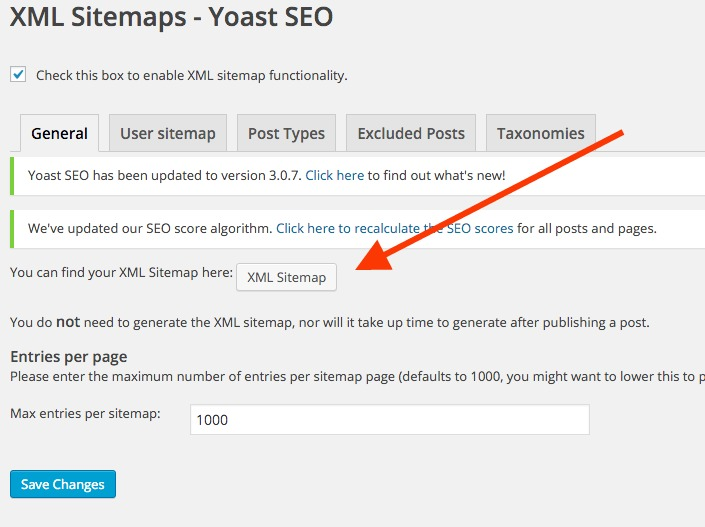 Yoast SEO Sitemap for Content Audit