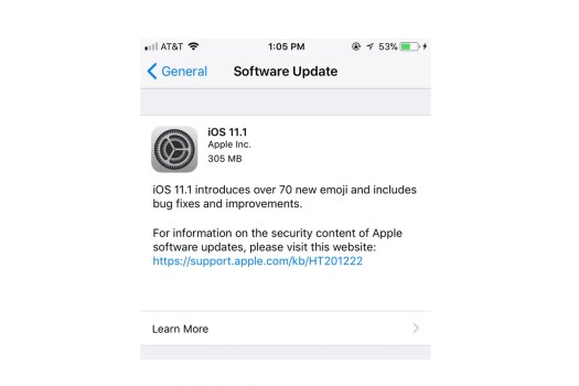 iOS 11.1 changelog