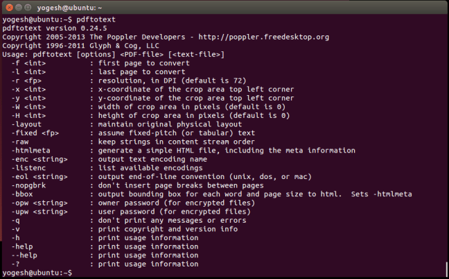 PDF to Text output from terminal