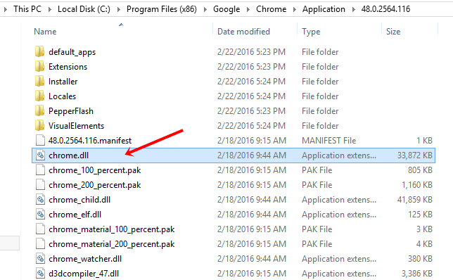 delete chrome.dll to fix Google Chrome Won't open