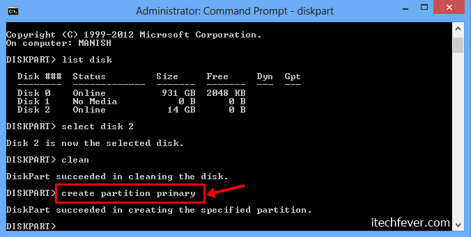 create partition primary