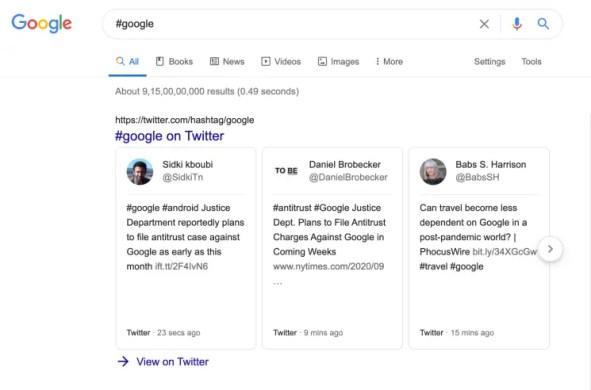 hashtags on google