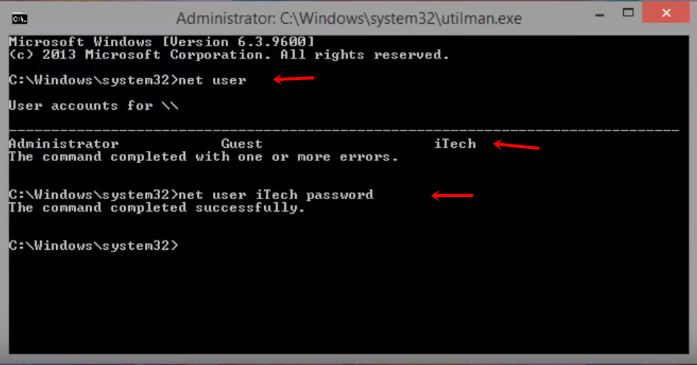 reset windows 8 password cmd