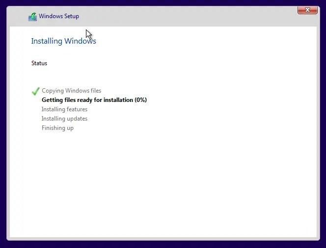 Install windows 10 screenshot