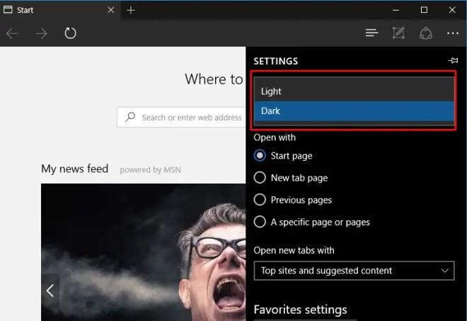 edge browser dark theme