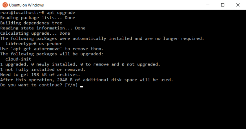 bash on Windows 10