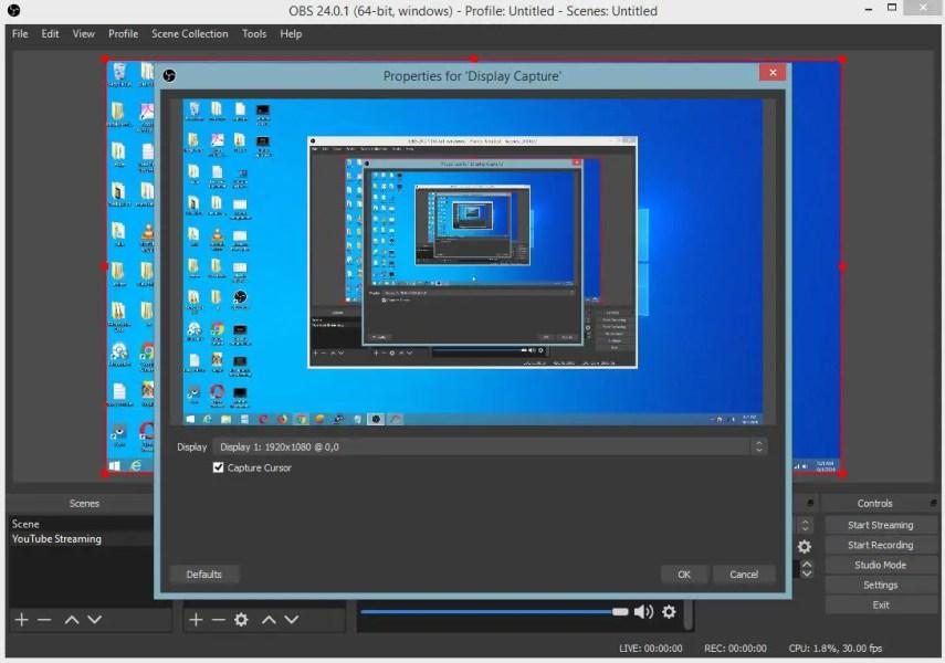 livestream computer screen obs