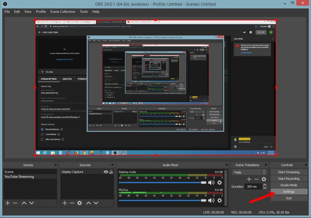 live stream computer screen using obs