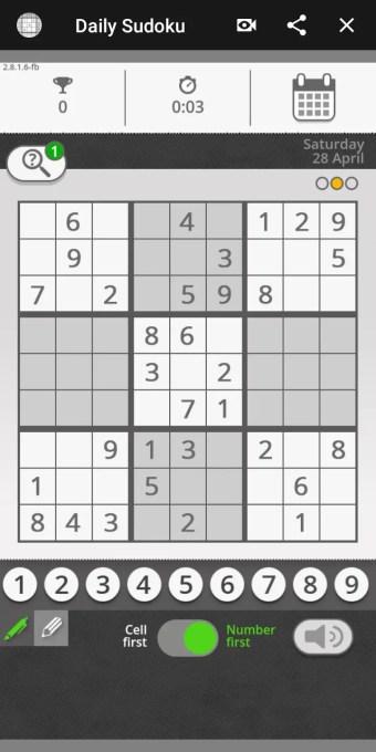 daily sudoku facebook gaming