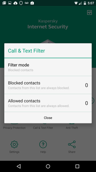 Kaspersky call filtering