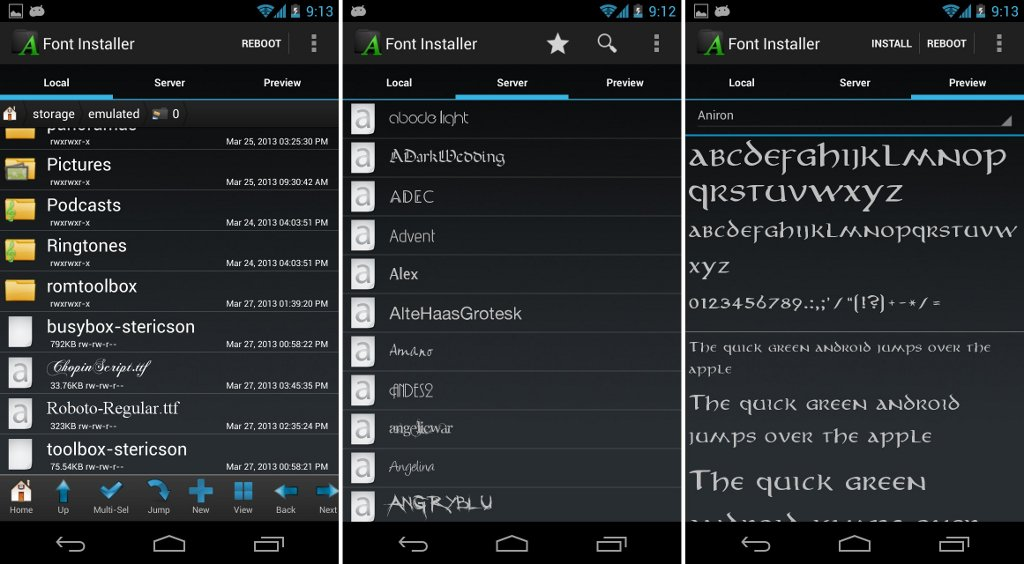 font typefaces font installer android