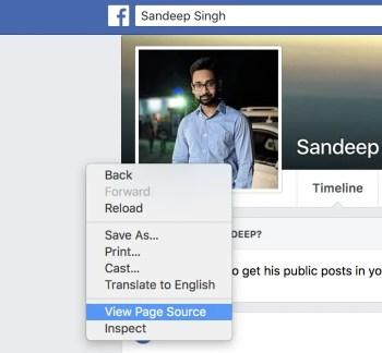 find facebook id of profile