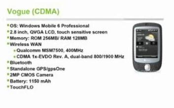HTC Vogue - the CDMA Touch