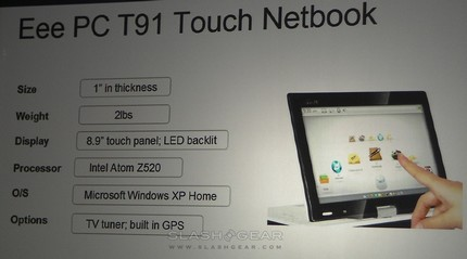 CES 2009: Asus Eee PC T91 Touch Netbook