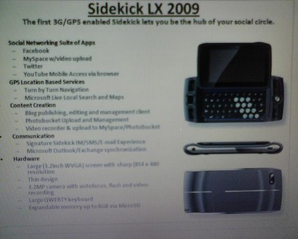 T-Mobile Sidekick LX 2009 appears on survey