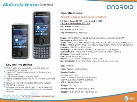 AT&T Motorola Heron Android Phone Details