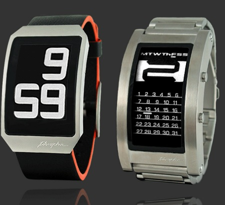 Phosphor Digital Hour and Calendar E-Ink Watches