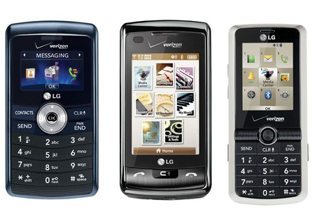 Verizon LG enV3, enV Touch and Glance Mobile Phones