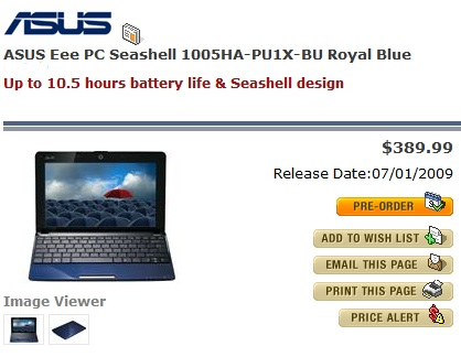 Asus Eee PC Seashell 1005HA Pre-order for $389.99