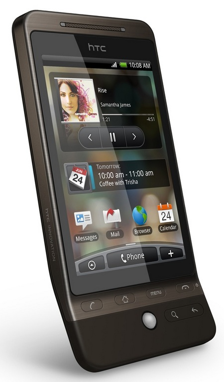 HTC Hero G3 Android Smartphone brown angle