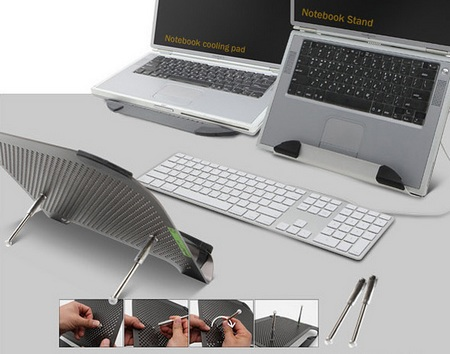 cRadia Minifit XL Notebook Stand with Movable Fan legs