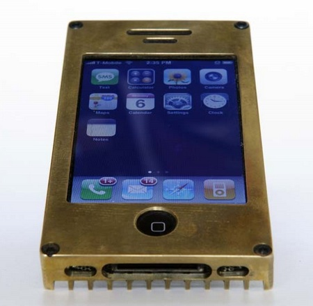 EXOvault Solid Metal Case for iPhone brass