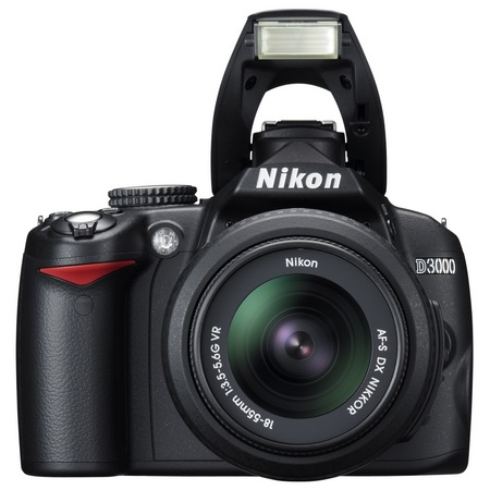 Nikon D3000 Entry-Level DSLR Camera front flash