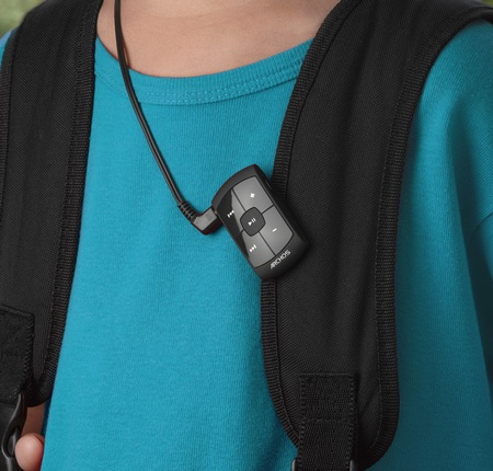 Archos Clipper Tiny MP3 Player on bag
