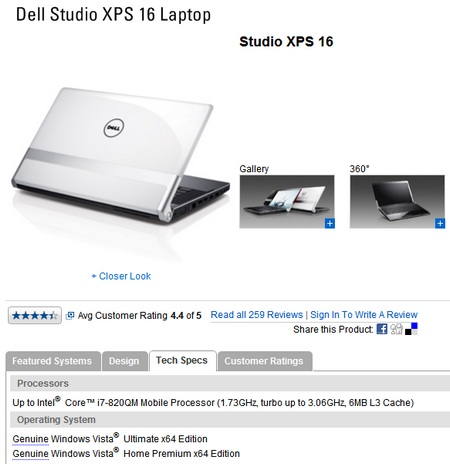 Dell Studio XPS 16 to Get Core i7-820QM