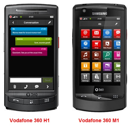 Vodafone 360 Samsung H1 and M1 Touchscreen Phones