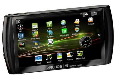 Archos 5 Internet Tablet with Android flash memory