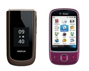 T-Mobile Tap and Nokia 3711 mobile phones