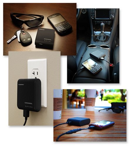 Technocel PowerPak Portable Battery and Home Charger 2-in-1 in use