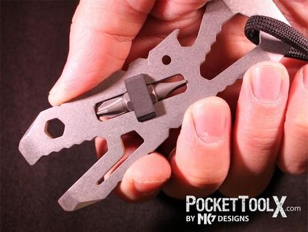PocketToolX PIRANHA - single-piece, multi-purpose pocket tool on hand