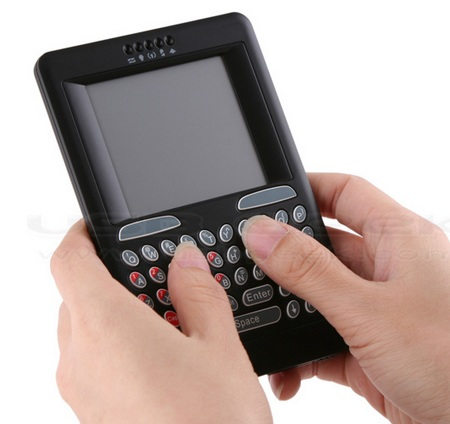 Wireless Handheld Keyboard with Touchpad on hand