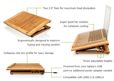 Macally EcoFan Pro Bamboo Notebook Cooling Stand details