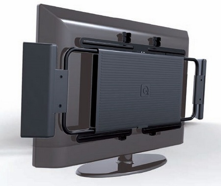 Q-TV2 2.1 Speaker System attached to the rear of your TV