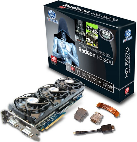 Sapphire Radeon HD5970 4G TOXIC Edition runs at 900MHz
