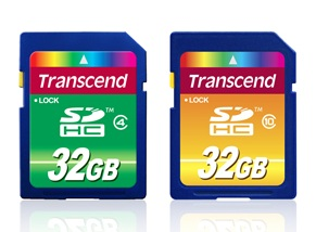 Transcend Class 4 and Class 10 32GB SDHC Cards