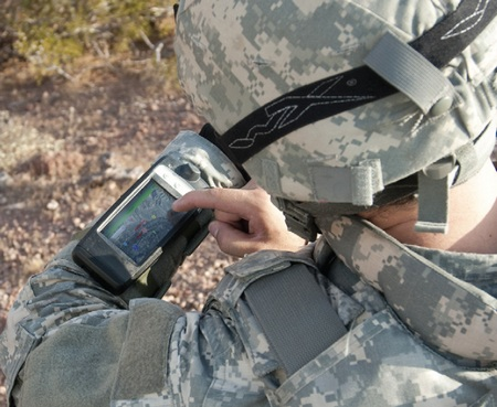 General Dynamics Itronix GB300 Rugged Wearable Computer runs Android in use