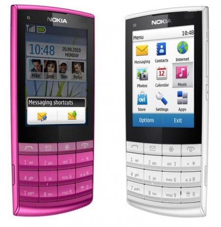 Nokia X3-02 Touch and Type Mobile Phone pink white