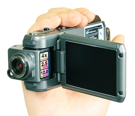 Thanko HDDV-506 HD Camcorder with Swivel Lens and Swivel Screen on hand