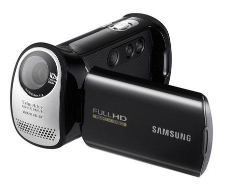 Samsung HMX-T10 Full HD Camcorder with 20-degree Slanted Lens screen flip open