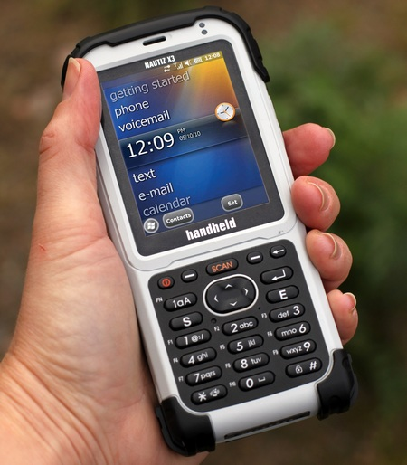 Handheld Nautiz X3 Rugged PDA on hand