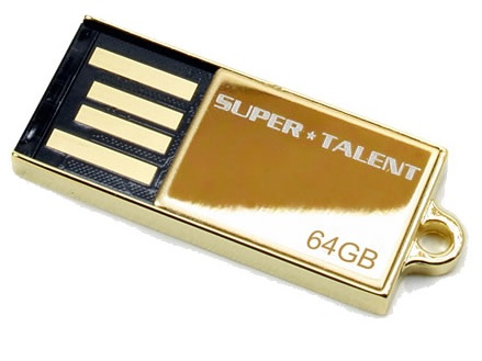 Super Talent Pico-C 64GB 24K Gold Plated Special Edition USB Flash Drive
