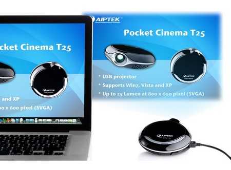 Aiptek PocketCinema T25 USB Pico Projector in use