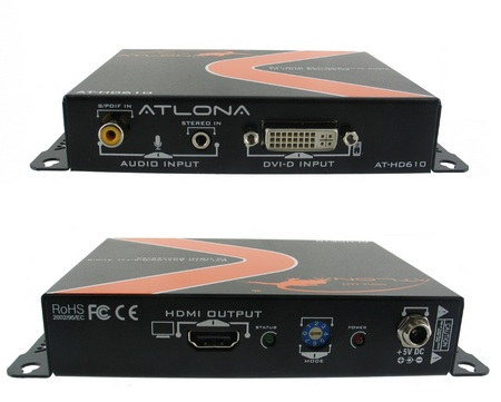 Atlona AT-HD610 DVI with Analog Digital Audio to HDMI Converter and Embedder