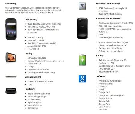 Google Nexus S by Samsung Android 2.3 Smartphone Specs