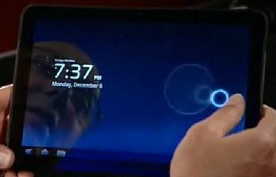 Motorola Android Tablet in Video running Honeycomb 2